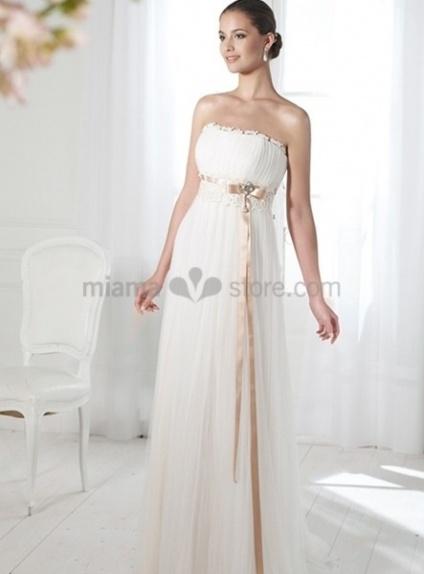 BETTY - Sheath Empier waist Cheap Court train Chiffon Strapless Wedding dress