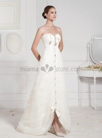 LINDA - A-line Sweetheart Asymmetrical Organza Wedding dress