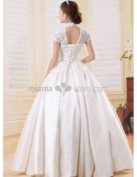 LISA - A-line Ball gown Empier waist Floor length Tulle Stian High round/Slash neck Wedding dress