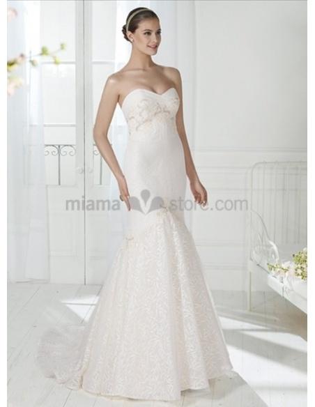 BARBARA - Mermaid Sweetheart Watteau train Lace Wedding dress