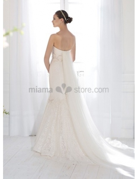 BARBARA - Mermaid Sweetheart Watteau train Lace Wedding dress