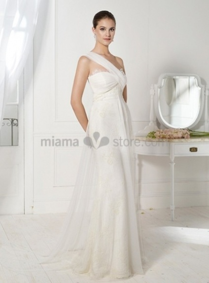 HELEN - Sheath Chapel train Chiffon One shoulder Wedding dress