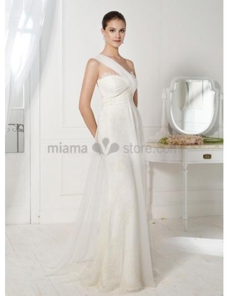 HELEN - Sheath Chapel train Chiffon One shoulder Wedding dress