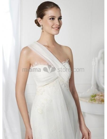 HELEN - Sheath Chapel train One shoulder Wedding dress