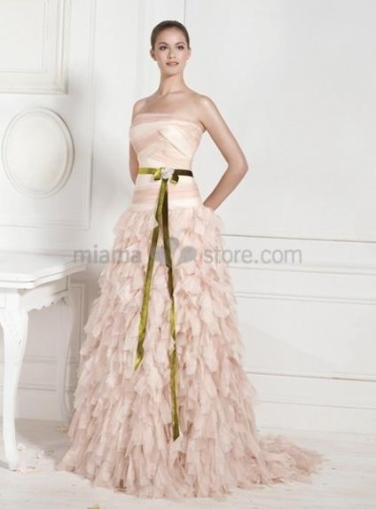 KATHARINE - A-line Strapless Chapel train Chiffon Wedding dress