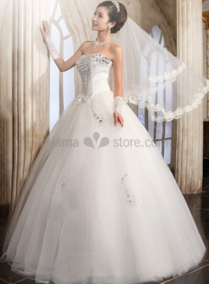 ANGELA - A-line Ball gown Strapless Floor length Tulle Stian Wedding dress