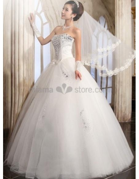 ANGELA - A-line Ball gown Strapless Floor length Tulle Stian Wedding dress