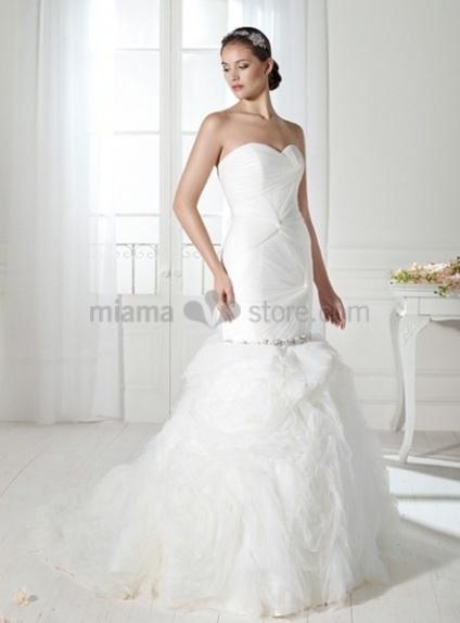 ANN - Mermaid Sweetheart Chapel train Organza Wedding dress