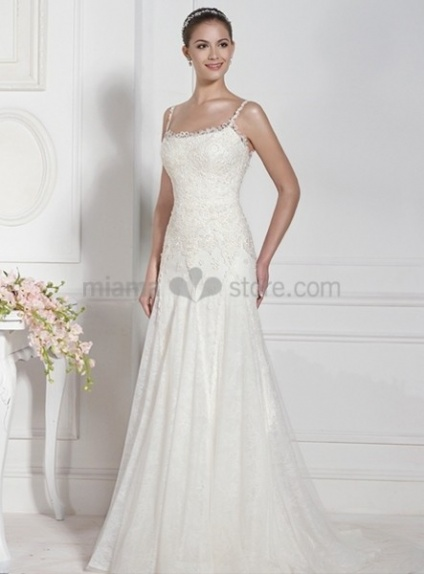 DIANA - Sheath Spaghetti straps Chapel train Square neck Wedding dress
