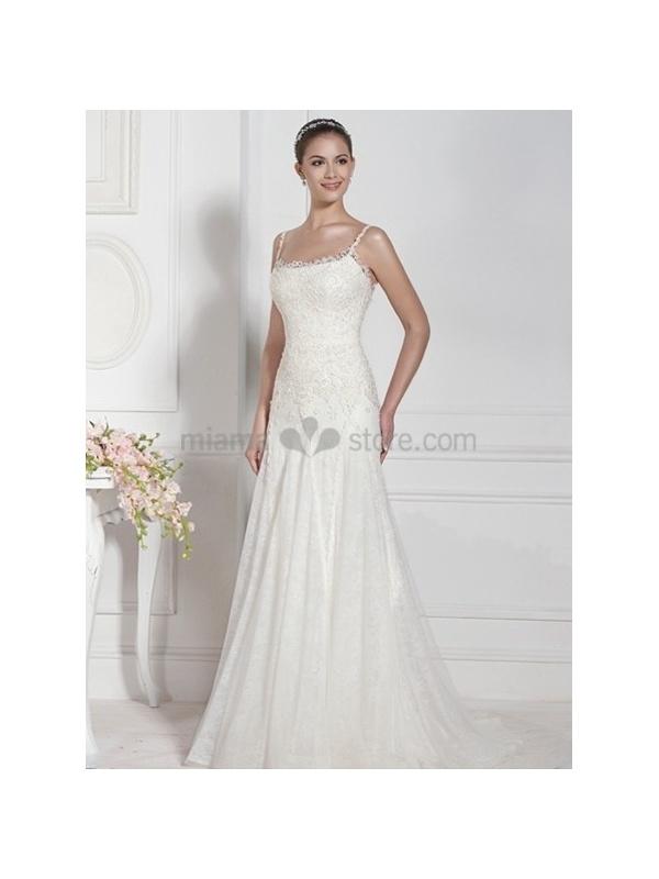 Square Neck Chiffon Wedding Dress