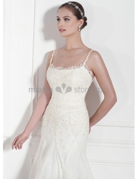 DIANA - Sheath Spaghetti straps Chapel train Chiffon Square neck Wedding dress