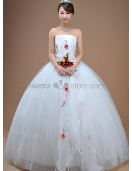 ALICE - A-line Ball gown Cheap Floor length Tulle Stian Strapless Wedding dress