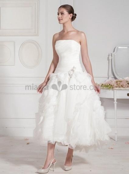 FIONA - A-line Short Cheap Tea length Organza Wedding dress