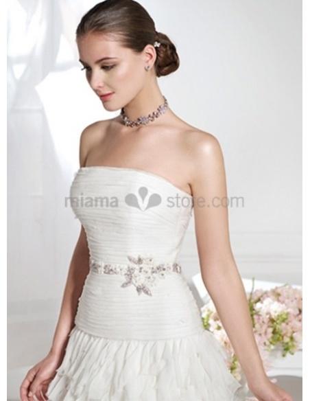 JUDY - A-line Strapless Court train Organza Chiffon Wedding dress