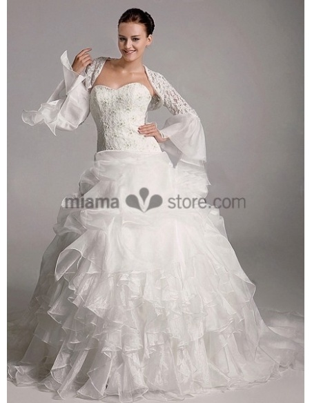 White Long sleeves Organza Bridal jacket Wedding wrap