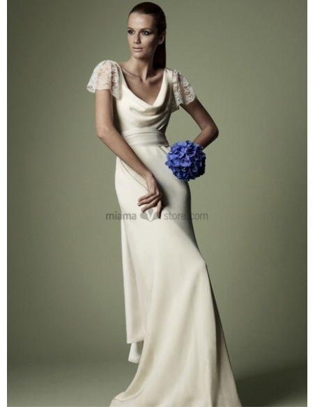 SILVIA - Vintage Sheath Cheap Court train Chiffon Satin Low round/Scooped neck Wedding dress
