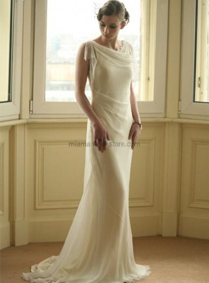 SANDY - Vintage Sheath Cheap Court train Chiffon High round/Slash neck Wedding dress
