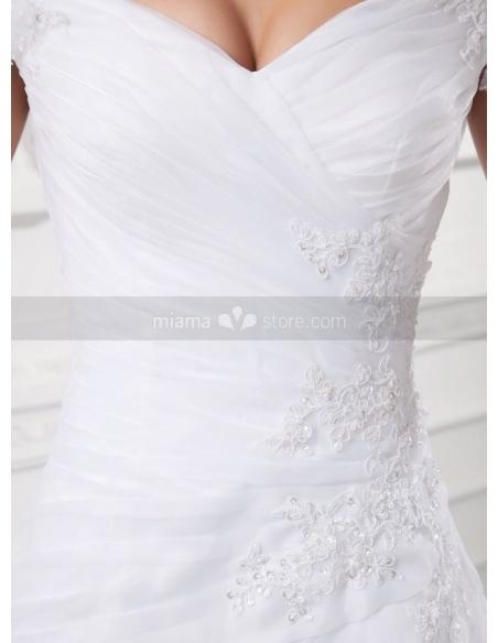 LILLIAN - A-line Off the shoulder V-neck Chapel train Organza Weeding dress