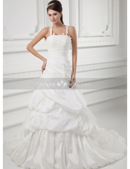 LYDIA - A-line Halter Chapel train Taffeta Square neck Weeding dress