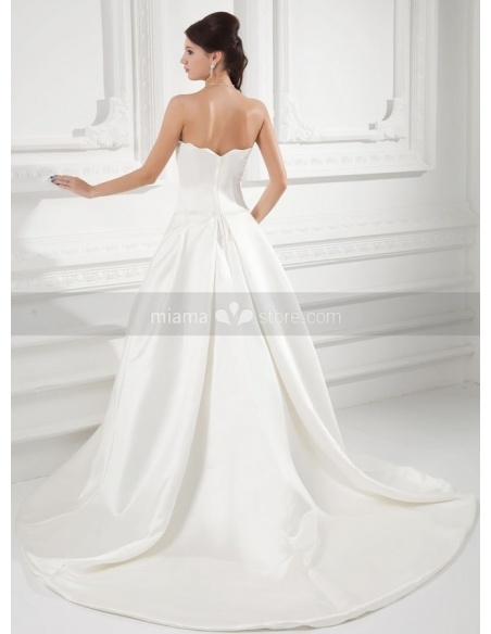 KATRINA - A-line Strapless Chapel train Satin Weeding dress