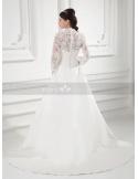 JESSIE - A-line V-neck Chapel train Satin Weeding dress