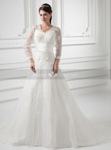 FREDERICA - A-line V-neck Empire waist Chapel train Organza Weeding dress