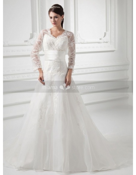 FREDERICA - A-line V-neck Empire waist Chapel train Organza Weeding dress