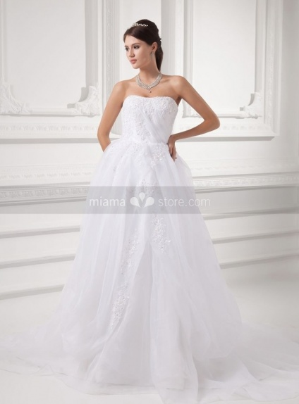 ROSS - A-line Strapless Empire waist Chapel train Organza Weeding dress