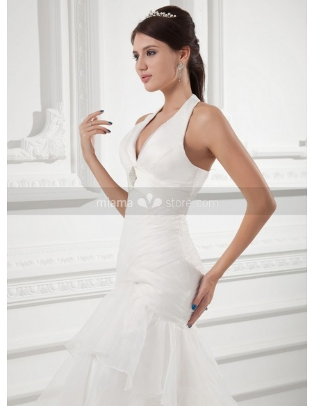 RITA - A-line Halter V-neck Chapel train Organza Weeding dress