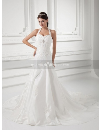 WINNIE - A-line Halter Sweetheart Chapel train Taffeta Wedding dress