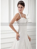 WINNIE - A-line Halter Sweetheart Chapel train Taffeta Weeding dress