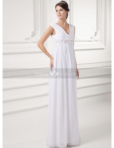 VIVIAN - Sheath Empire waist V-neck Floor length Chiffon Weeding dress