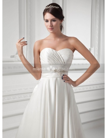 VANESSA - A-line Empire waist Sweetheart Chapel train Satin Weeding dress