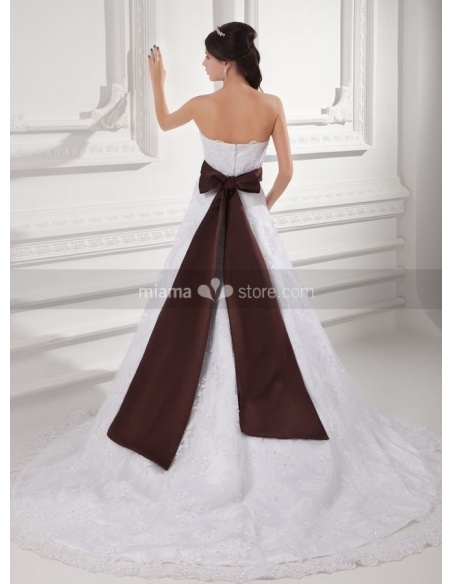 TRACY - A-line Empire waist Strapless Chapel train Satin Lace Weeding dress