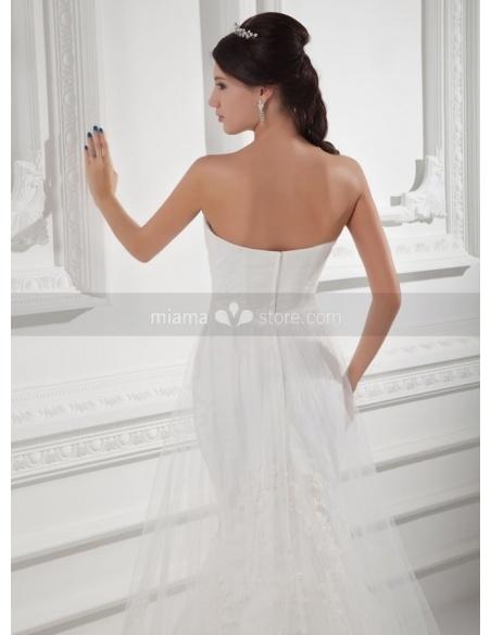 TINA - A-line Mermaid Sweetheart Chapel train Tulle Weeding dress
