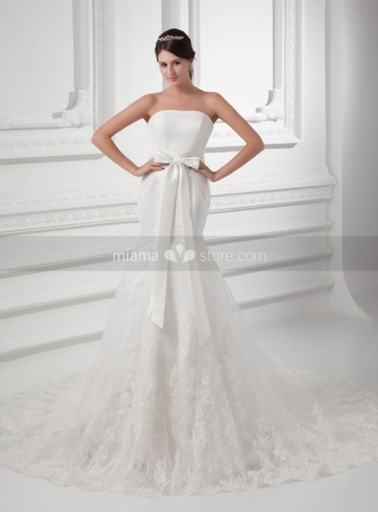 TERESA - A-line Mermaid Chapel train Tulle Strapless Weeding dress