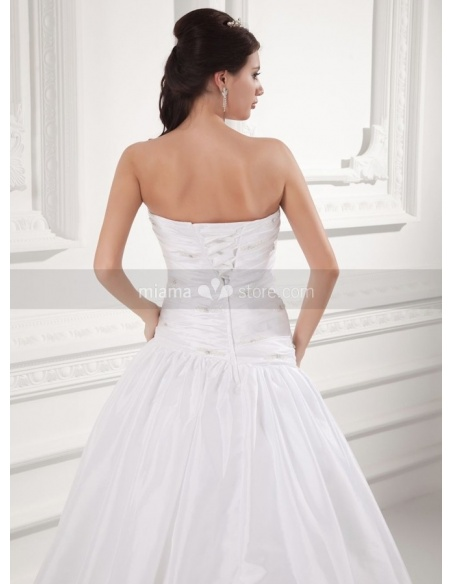 TAMARA - A-line Strapless Chapel train Taffeta Weeding dress
