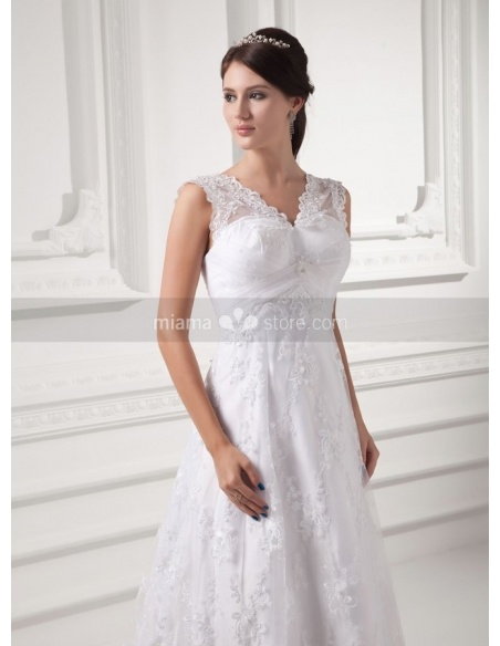 STELLA - A-line V-neck Empire waist Chapel train Lace Weeding dress