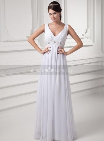 STACY - Sheath V-neck Empire waist Floor length Weeding dress