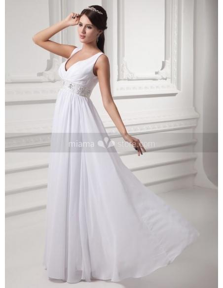 STACY - Sheath V-neck Empire waist Floor length Chiffon Weeding dress