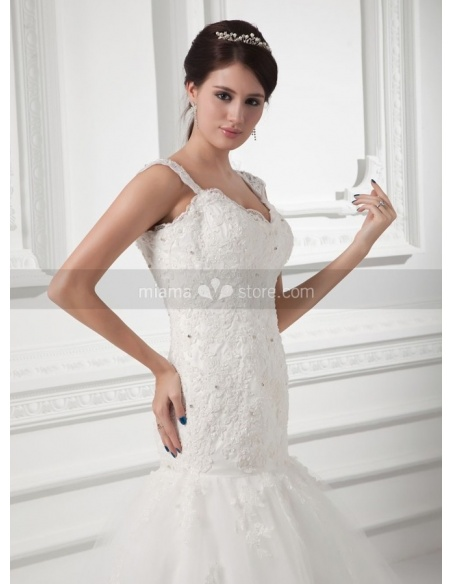 SHIRLEY - A-line V-neck Chapel train Tulle Weeding dress