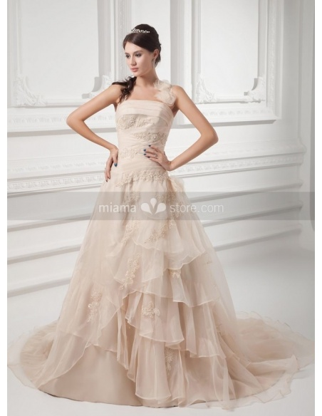 CHERIE - A-line Halter Chapel train Organza Square neck Weeding dress