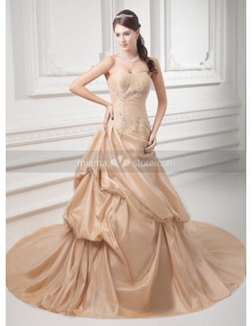 SHARON - A-line Strapless Chapel train Taffeta Weeding dress