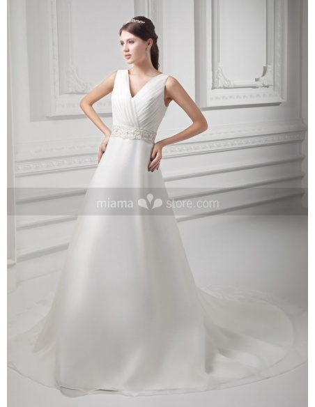 SERENA - A-line V-neck Empire waist Chapel train Organza Weeding dress