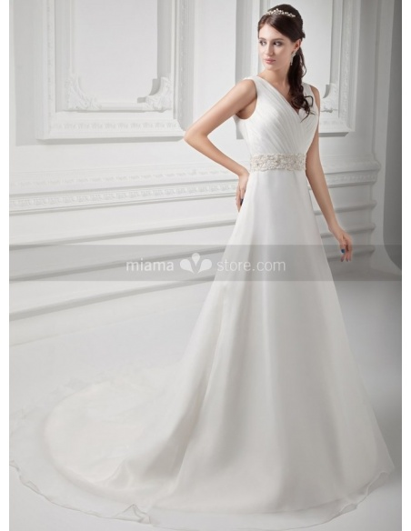 SERENA - A-line V-neck Empire waist Chapel train Organza Weeding dress