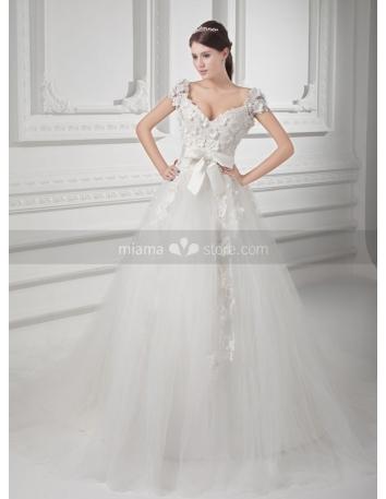 SELMA - A-line V-neck Empire waist Chapel train Tulle Weeding dress
