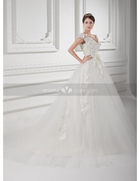 SELMA - A-line V-neck Empire waist Chapel train Tulle Weeding dress