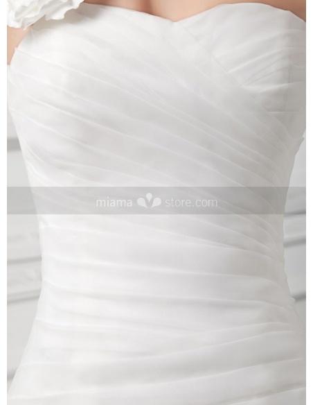 SELINA - A-line Mermaid Chapel train Organza One shoulder Weeding dress