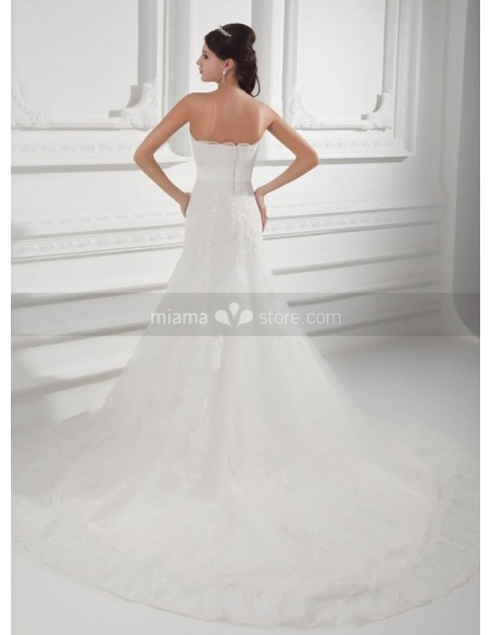 SANDY - A-line Empire waist Strapless Chapel train Tulle Weeding dress