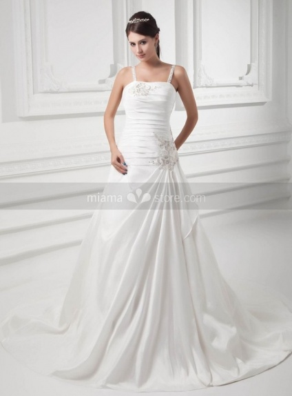 SAMANTHA - A-line Spaghetti straps Chapel train Satin Square neck Weeding dress